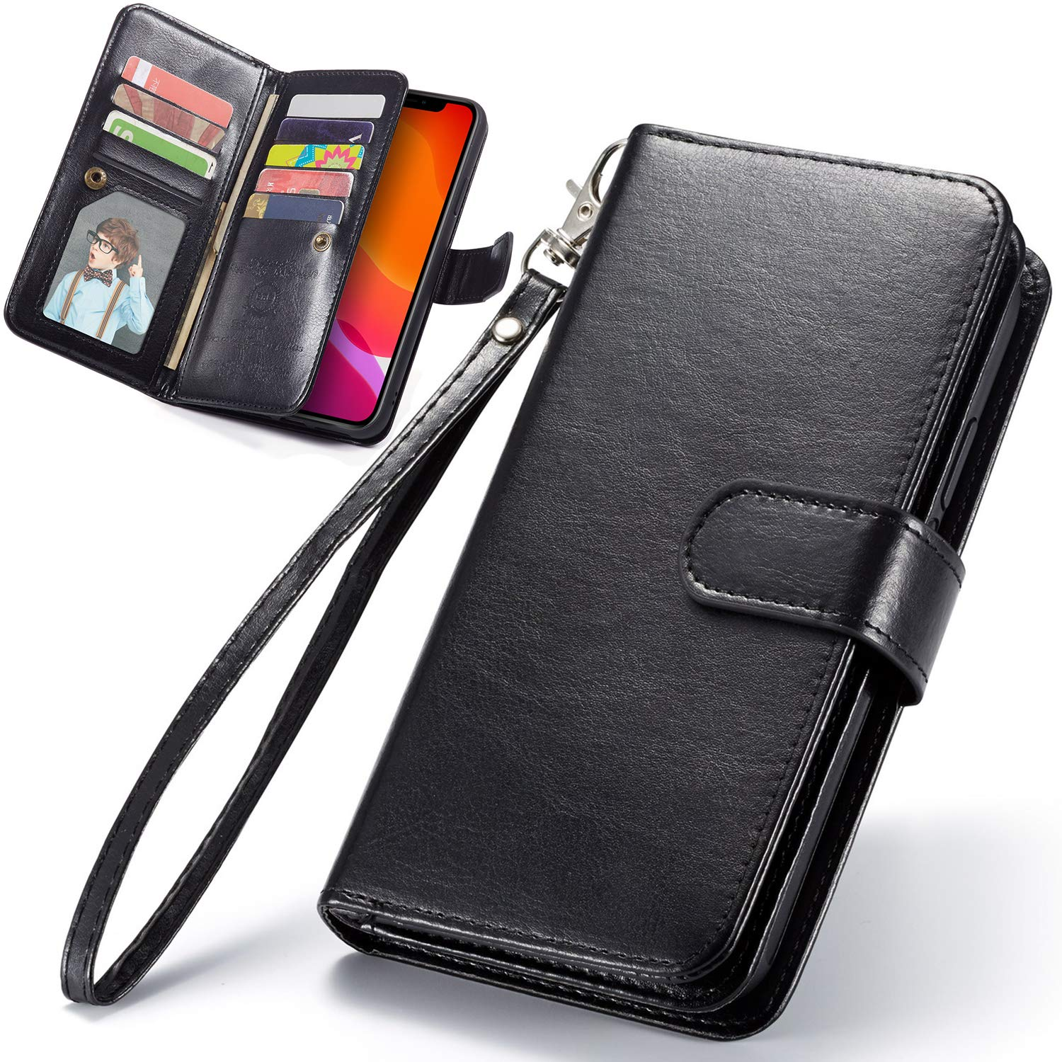 iPhone 11 Pro Case, iPhone 11 Pro Wallet Case, 5.8Inch, XRPow [2 in 1] Magnetic Detachable Wallet Case [PU Leather] Folio Flip [9 Card Slot] [Wrist Strap] Durable Protection Back Cover Black