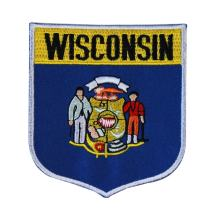 State Flag Shield Wisconsin Patch Badge Travel USA Embroidered Iron On Applique