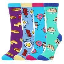 HAPPYPOP Women Taco Donut Baco Pineapple Avocado Sushi Socks, Novelty Breakfast Fruit Food Socks