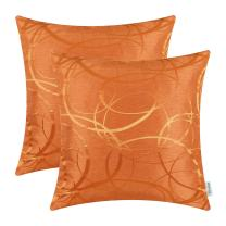 CaliTime Pack of 2 Cushion Covers Throw Pillow Cases Shells for Couch Sofa Home Decor Modern Shining & Dull Contrast Circles Rings Geometric 18 X 18 Inches Bright Orange