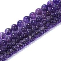 """Natural Stone Beads 16mm Amethyst Beads Gemstone Round Loose Beads Crystal Energy Stone Healing Power for Jewelry Making DIY,1 Strand 15"""""""