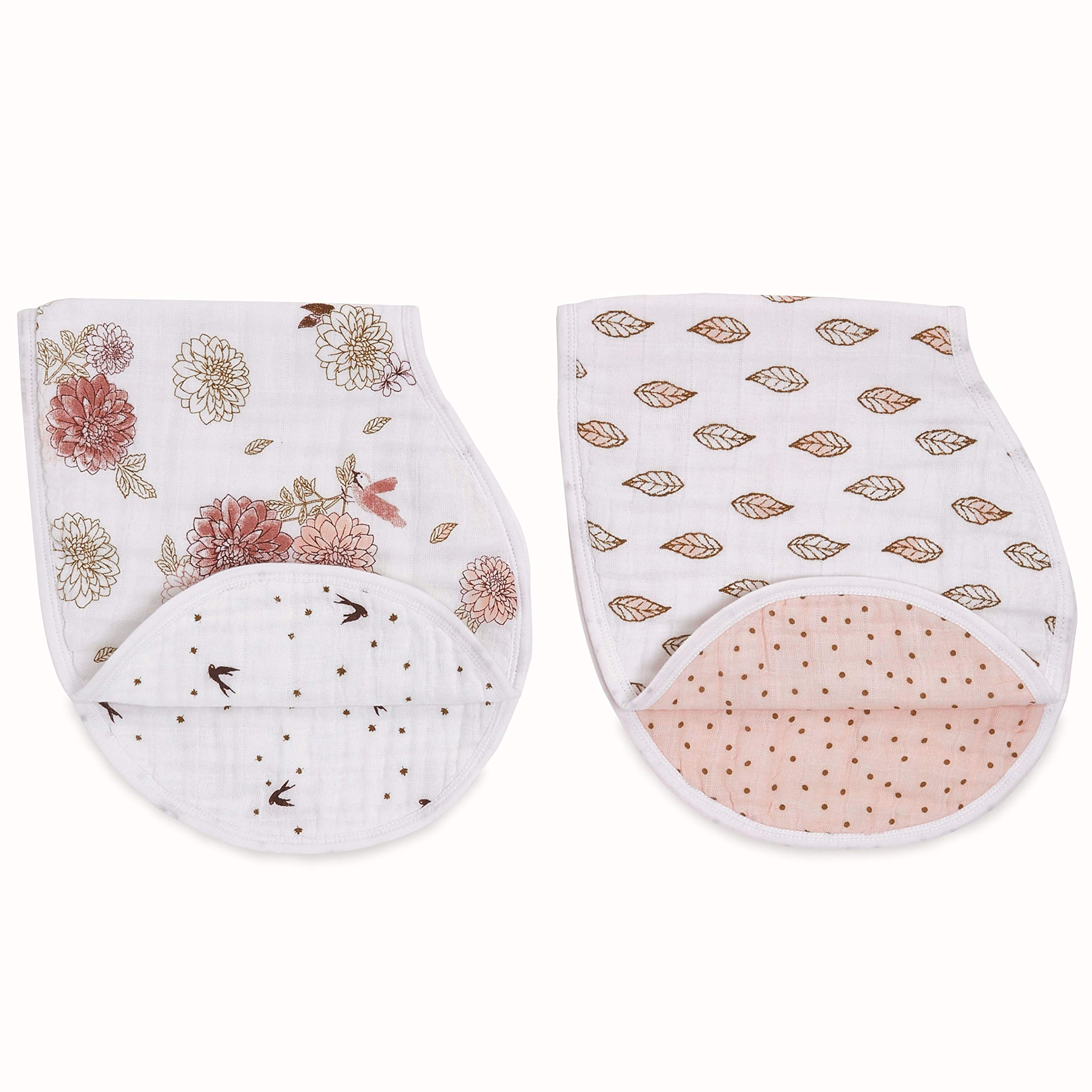 aden + anais Burpy Baby Bib, 100% Cotton Muslin, 4 Layer Multi Use Burping Cloth, Super Soft & Absorbent Burp Rag for Infants, Newborns and Toddlers, 2 Pack, Dahlias