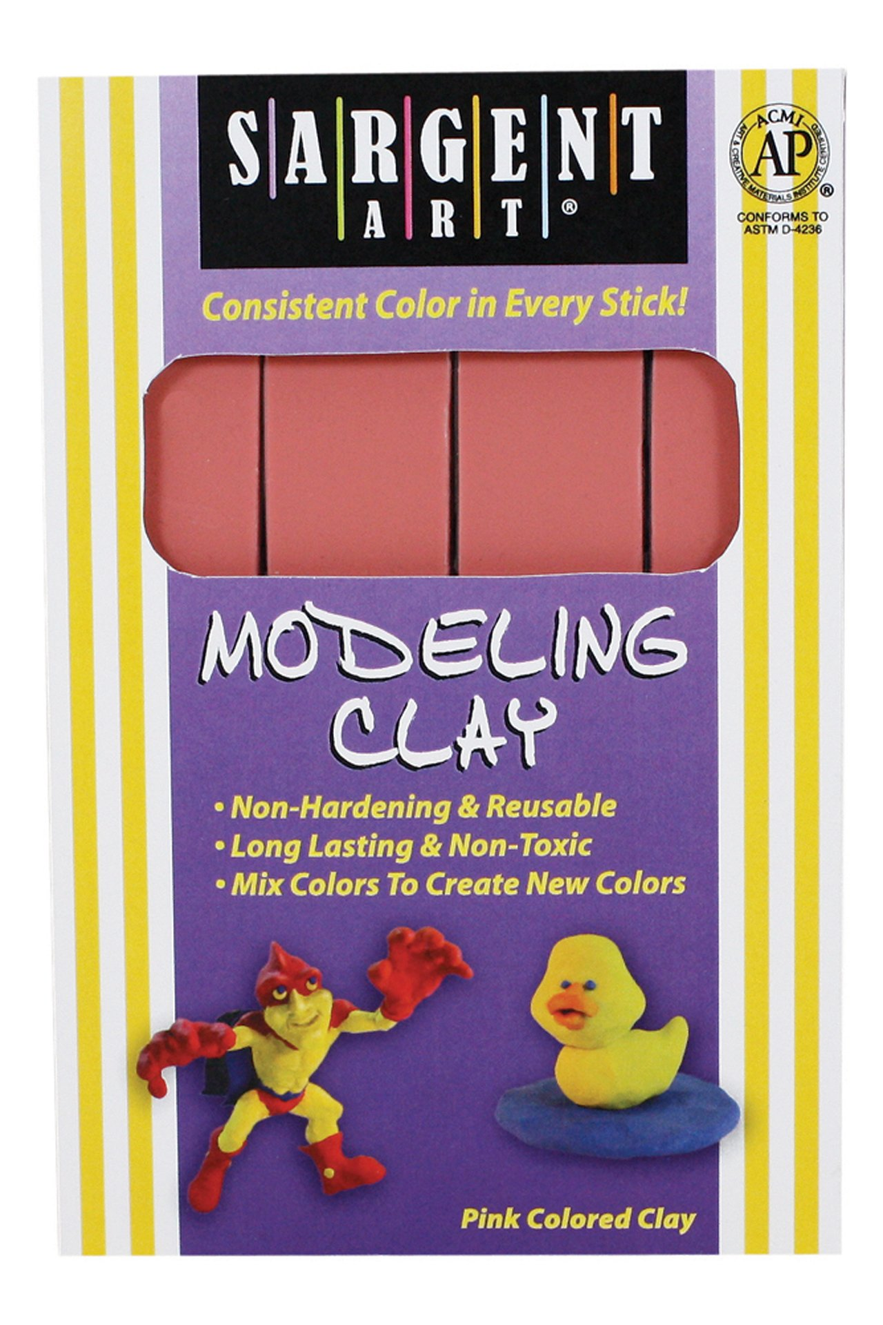 Sargent Art 22-4029 1-Pound Solid Color Modeling Clay; Pink