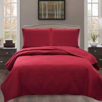 JML Quilts Queen Size, Bedspread Coverlet Set - 3 Piece Reversible, Soft, Wrinkle Resistant, Lightweight Bed Quilt for Spring and Summer, Burgundy (Includes 1 Quilt, 2 Shams)