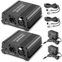 Neewer 1- Channel 48V Phantom Power Supply Black with Adapter and XLR Male to XLR Female Cable (2 Pack)