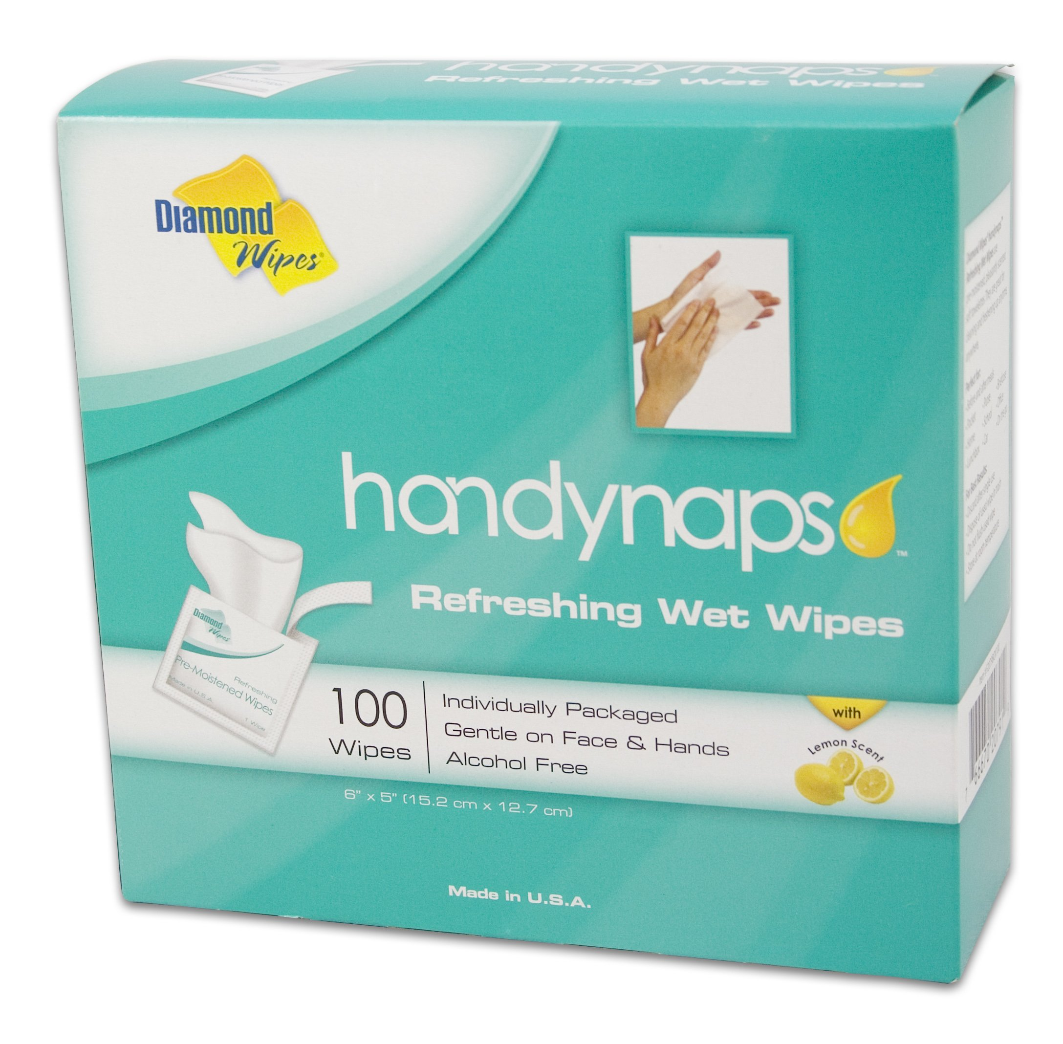 Handynaps Pre-Moistened Refreshing Hand Cleaning Wet Wipes, Alcohol Free, for General Cleaning Purpose, Individually Wrapped 100 Count Box