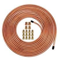 """25 Ft. of 1/4 Brake Line Tubing Kit - Muhize Flexible Copper Tube Roll 25 ft 1/4"""" (Includes 16 Fittings)"""