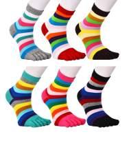 Women Toe Socks 5 Finger Cotton Wicking Athletic 6 Pack