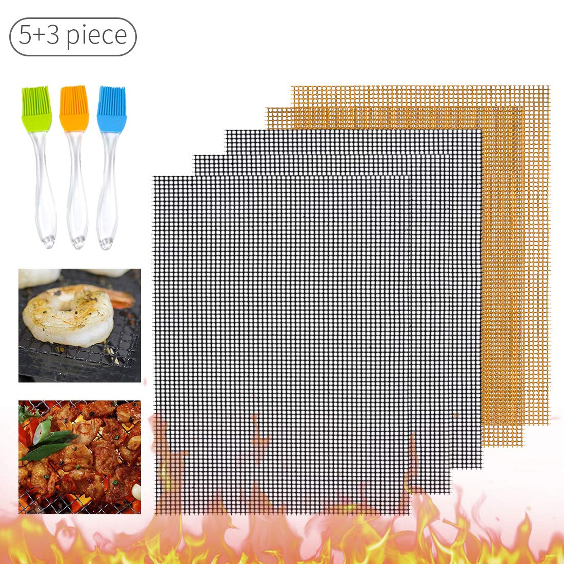 AWOPEE BBQ Grill Mesh Mat Set of 5 - Non-Stick Cooking Mats for Grilled Vegetables/Fish/Fajitas/Shrimp, Grilling Sheet Liner, Reusable Grill Accessories - Use on Gas, Charcoal, Electric Barbecue