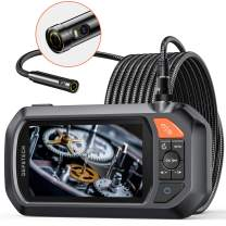"""Endoscope Dual-Lens, DEPSTECH 4.3"""" IPS Screen Industrial Borescope with 3000mAh Battery,1080P HD+ Inspection Camera with 7 LED Lights, 32GB Card, Hard Carry Camera Bag, Semi-Rigid Snake Cable (16.5ft)"""