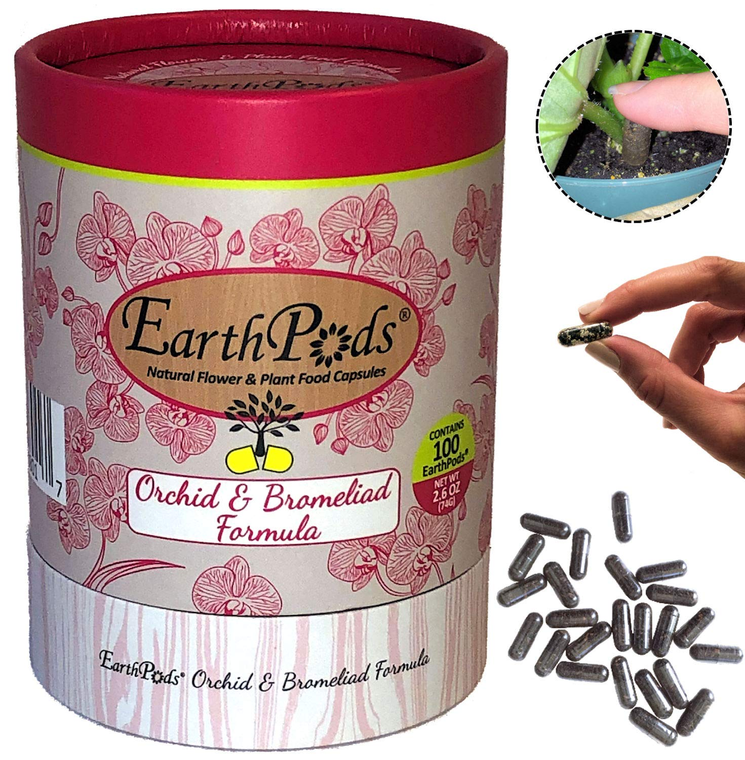 EarthPods Premium Orchid Plant Food – Easy Organic Fertilizer Spikes – 100 Capsules – Stimulates Flower Blooms, Roots & Leaves (Also Great for Bromeliads & Tillandsia Air Plants, No Urea, Ecofriendly)