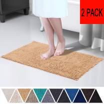 DEARTOWN Non-Slip Bathroom Kitchenroom Rug (2 Pieces,20x32 Inches,Marzipan) Machine-Washable Shaggy Bath Mats