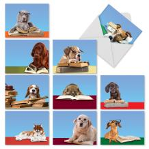 Assortment of Thank You Cards (4 x 5.12 Inch) Featuring Dogs Reading - 'Reading Eye Dogs' Greeting Card Set with Envelopes for All Occasions - M2967