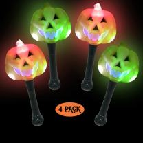 Simply Charmed Halloween Party Favors for Kids - Toys for Goody Bags - LED Light Up Wands 4 Pack / Pieces Pumpkin Jack O Lanterns