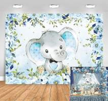 Sensfun Elephant Boy Baby Shower Backdrop, Blue Floral Elephant Baby Shower Party Decorations It's A Boy Little Peanut Baby Shower Banner Elephant Birthday Party Supplies Photography Background 7x5ft