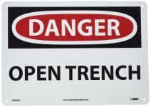 NMC D460AB DANGER - OPEN TRENCH Sign - 14 in. x 10 in. Aluminum Danger Signage, Black/White Text on White/Red Base