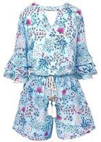 Smukke, Big Girls Tween Tiered Ruffle 3/4 Sleeves Romper with Pockets, 7-16