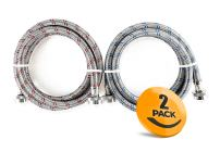 2-Pack Stainless Steel Washing Machine Hoses Burst Proof, 6ft Long - Hot and Cold Water Supply Hoses for Washing Machines