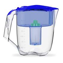 Ecosoft Water Filter Pitcher - Water Dispenser and Purifier Countertop Filtration Jug for Kitchen Home with Extra Cartridge Replacement - Blue