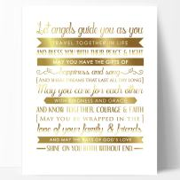 Ocean Drop Designs Unique Wedding Gift, Wedding Verse Gold Foil Print - Beautiful Engagement Gift, or Wedding Present with Meaningful Wedding Blessing Quote - Made in The USA