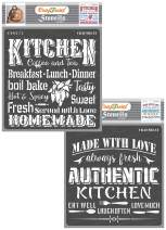 CrafTreat Kitchen Decor Stencils for Painting on Wood, Canvas, Paper, Fabric, Floor, Wall and Tile - Kitchen and Authentic Kitchen - 2 Pcs - 6x6 Inches Each - Reusable DIY Art and Craft Stencils