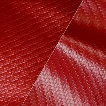 "VViViD Red Carbon Fiber Weatherproof Faux Leather Finish Marine Vinyl Fabric (10ft x 54"")"
