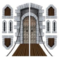"Beistle 52081 Printed Castle Door and Window Props, 16"" to 5' 4"", 9 Pieces In Package"