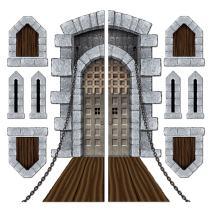 "Beistle 52081 Printed Castle Door and Window Props, 16"" to 5' 4"", 9 Pieces In Package"