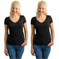 Rich Cotton V Neck Jersey Tee Women Basic Gym Active Casual Workout Cotton Short Sleeve T-Shirt Multiple Pack Top
