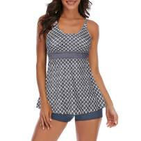 Zando Women Tummy Control Swimdress Two Piece Skirted Swimming Suit Slimming Bathing Suit Dress Push Up Tankini Swimwear