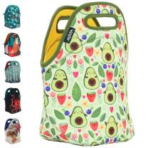 ARTOVIDA Insulated Neoprene Lunch Bag for Women, Men and Kids, Soft Lunch Tote for Work and School - Elisabeth Fredrikkson from Sweden - Happy Avacado (LIMITED EDITION)