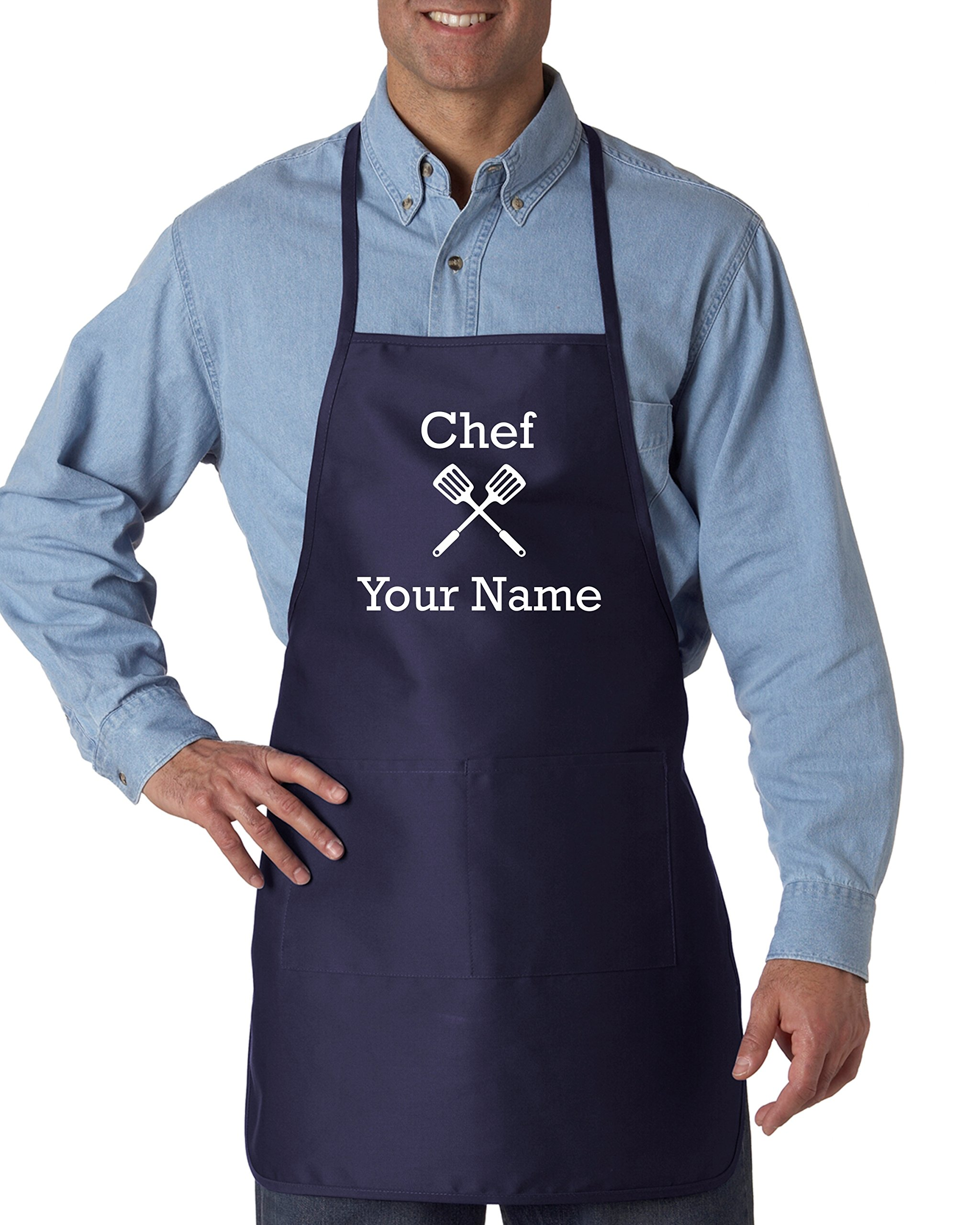 Hot4TShirts Personalized Chef's Cooking Apron for Men Kitchen, BBQ Grill   Breathable, Comfortable Fabric   Funny Custom Designs, 2 Front Pockets   Machine Washable (Navy)