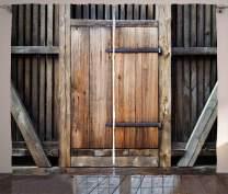 "Ambesonne Antique Curtains, Rustic Antique Wooden Door Exterior Facades Rural Barn Timber Weathered Display, Living Room Bedroom Window Drapes 2 Panel Set, 108"" X 84"", Brown Orange"