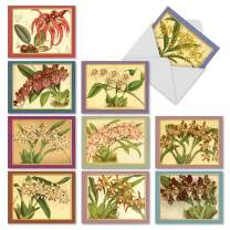 The Best Card Company - 10 Blank Flower Cards for All Occasions (4 x 5.12 Inch) - Retro Floral Card Assortment - Tiger Orchids M10037BK