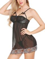 ELOVER Women Lingerie Lace Babydoll V Neck Sleepwear Strap Chemise