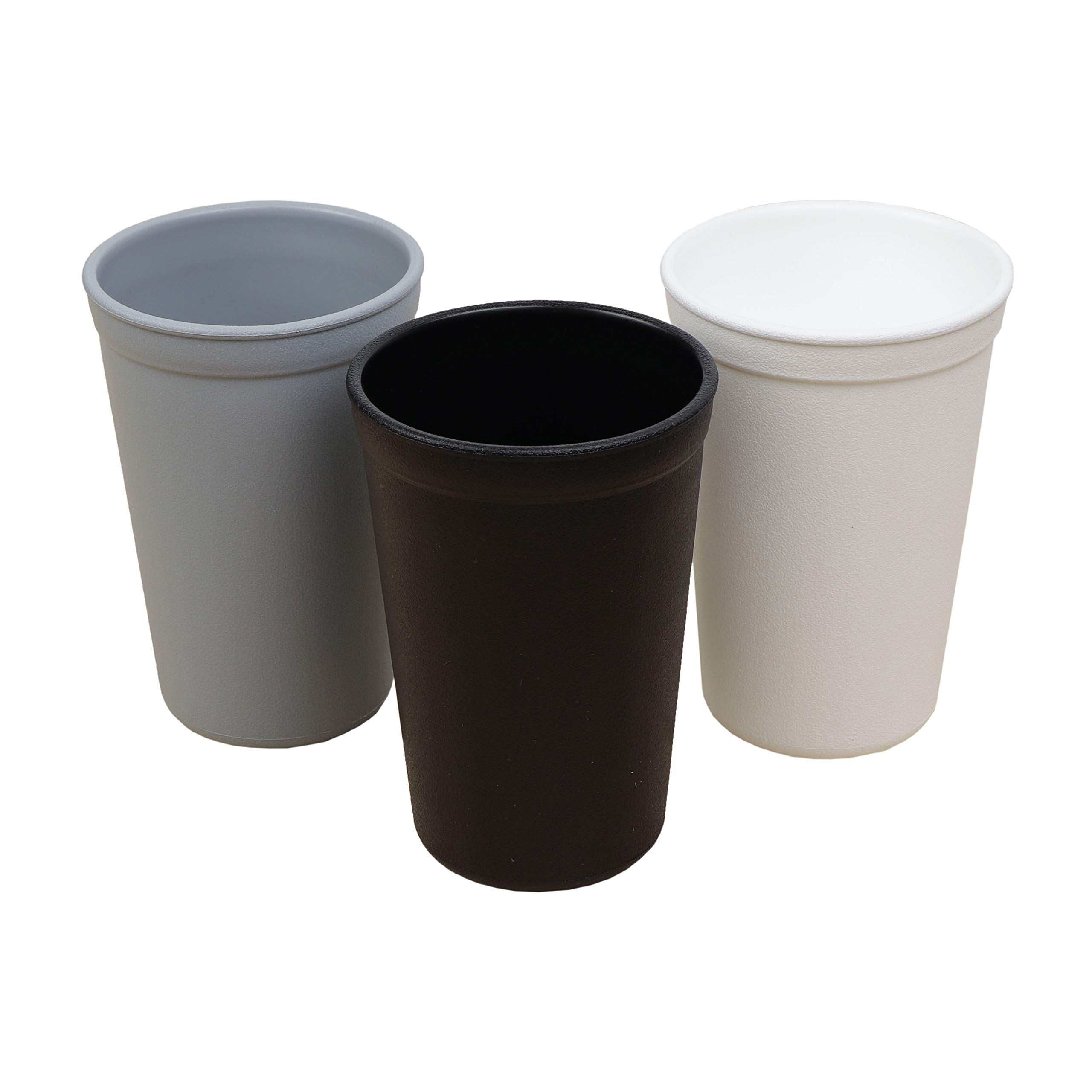 Re-Play Made in The USA 3pk Heavy Duty 10 oz.Drinking Cups  Eco Friendly Recycled HDPE - Virtually Indestructible   Grey,Black,White(Monochrome)