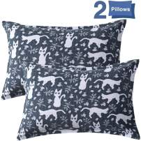 TEALP Black and White Decorative Pillows, Luxury Hypoallergenic Pillow with Cats Drawing Pattern Printed, Hotel Collection Pillow with Microfiber Filling, 2 Removable Pillow Shams & 2 Inserts