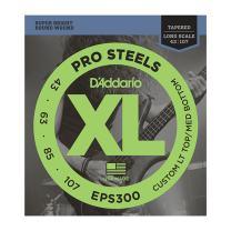 D'Addario EPS300 ProSteels Bass Guitar Strings Custom Light, 43-107, Long Scale