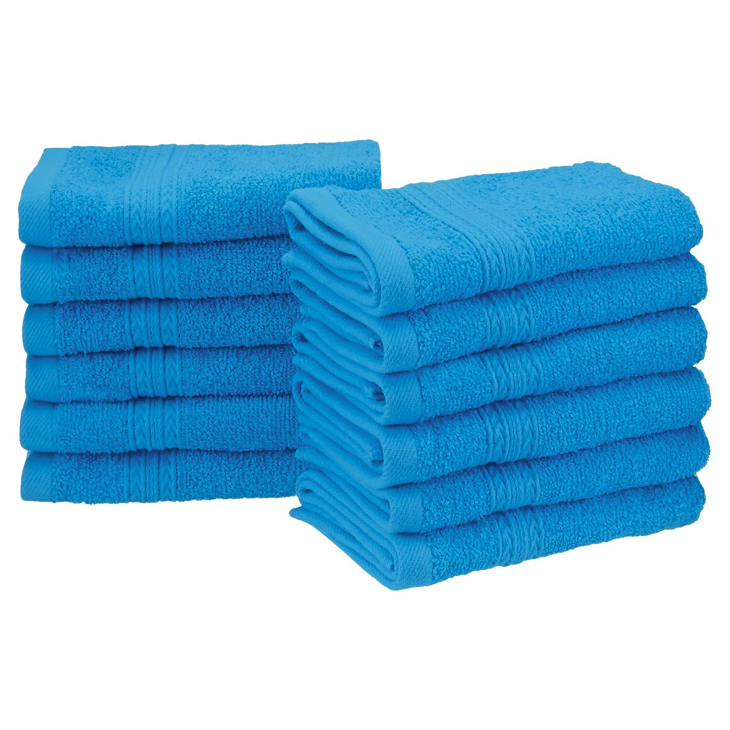 """Superior Eco-Friendly 100% Ringspun Cotton, 12 Piece Face Towel Set (13"""" x 13"""") in Aster Blue"""