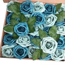 J-Rijzen Artificial Flowers 50pcs Real Looking Fake Roses with Stem for DIY Wedding Bouquets Centerpieces Party Baby Shower Home Decorations (Dusty Blue Shades)