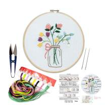 Embroidery Kit Including Embroidery Hoop,Color Threads and Embroidery Scissors for Beginners-Handmade Needlepoint Kits for Adults Kids(Flowers)
