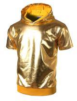 JOGAL Mens Metallic Gold Shirts Nightclub Styles Short Sleeve Hoodies