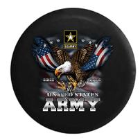American Unlimited United States Army USA Screaming Eagle Military Spare Tire Cover (Fits: Jeep Wrangler Accessories or SUV Camper RV) Black 32 in