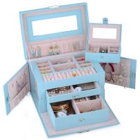 Kendal Large Leather Jewelry Box/Case/Storage/Organizer with Travel Case and Lock (Blue)