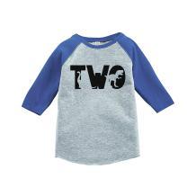 7 ate 9 Apparel Kid's Two Dinosaur Birthday Blue Raglan Tee