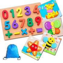 Wooden Learning Puzzles Numbers and Animal Jigsaw Puzzles for Toddlers Babies 1 2 3 4 5 Years Old