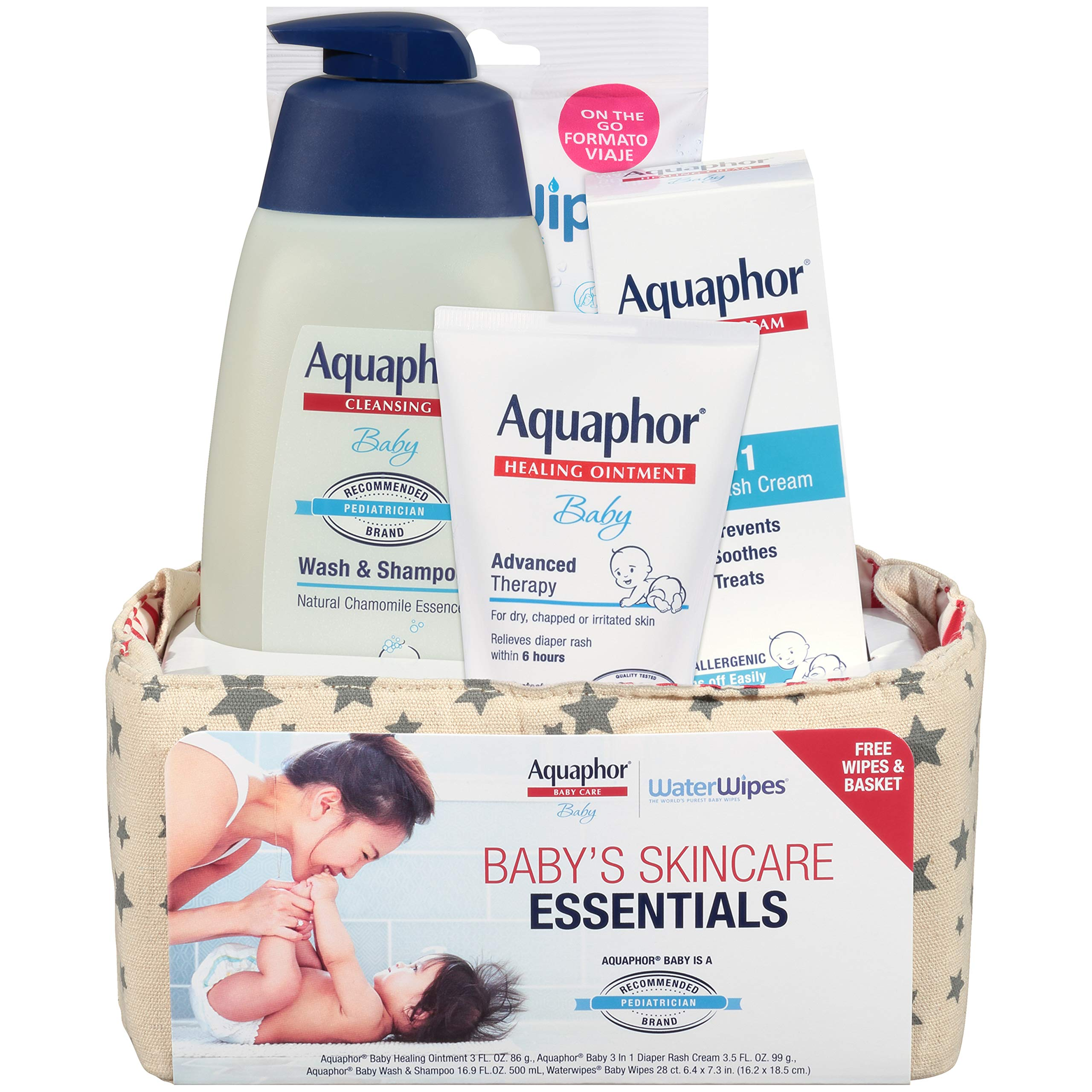 Aquaphor Baby Welcome Baby Gift Set Free Waterwipes And Bag Included Healing Ointment Wash And Shampoo 3 In 1 Diaper Rash Cream