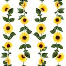 LASPERAL Artificial Sunflower Garland 4Pcs Sunflower Vine Artificial Sunflowers Garland with Green Leaves Silk Sunflowers Garland for Wedding Party Garden Home Office Indoor Outdoor Decoration
