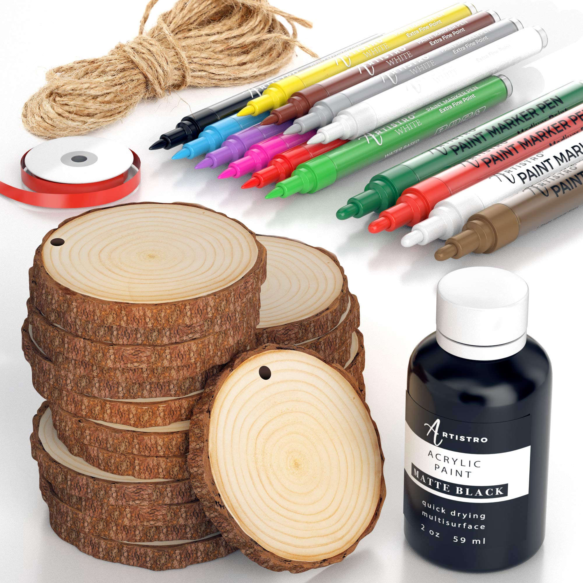 Wood Slices Kit, 24 Natural Unfinished Round Wooden Discs, 14 Artistro Acrylic Marker pens, Black Paint, Craft Supplies for Kids & Adults - Art Kit for Christmas Ornaments & DIY, Tree Coaster Circles
