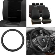 FH Group PU103115 Royal Leather Seat Covers + Microfiber Embossed Leather Steering Wheel Cover (Black) Full Set - Universal Fit for Cars, Trucks & SUVs